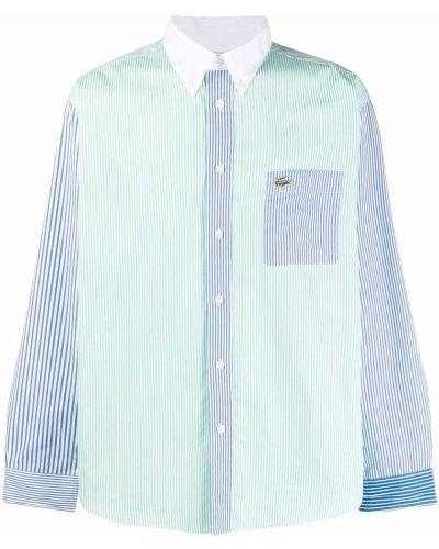 Niebieska koszula bawełniana z długimi rękawami Lacoste Live