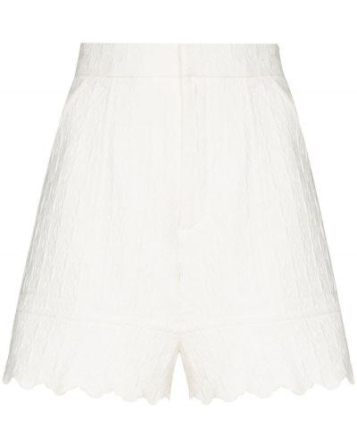 Белые шорты с высокой посадкой с потайной застежкой жаккардовые Chloé
