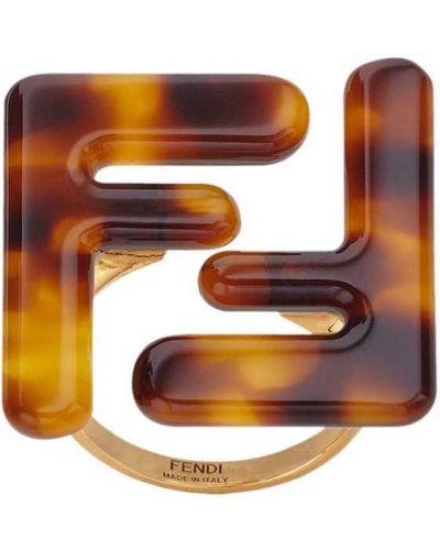 Массивное кольцо - коричневое Fendi