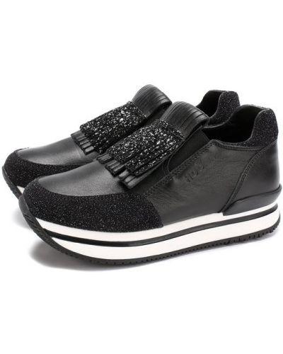 Кожаные кроссовки с глиттером цветные Hogan