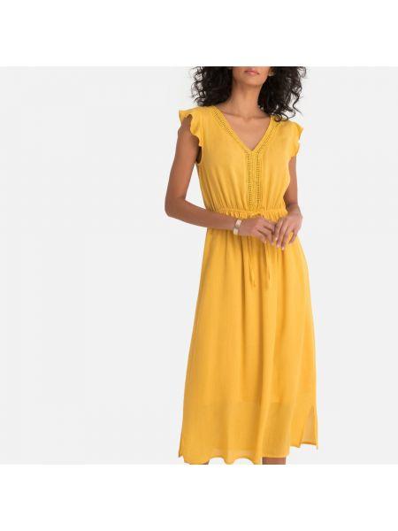 Расклешенное платье миди со вставками с V-образным вырезом на молнии Molly Bracken