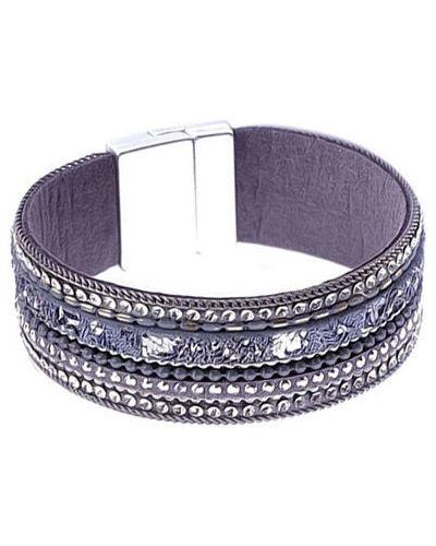Кожаный браслет с камнями фиолетовый Evora