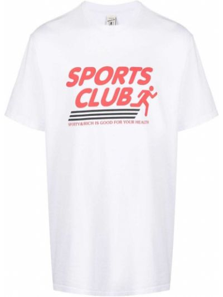 Футболка с принтом - белая Sporty And Rich