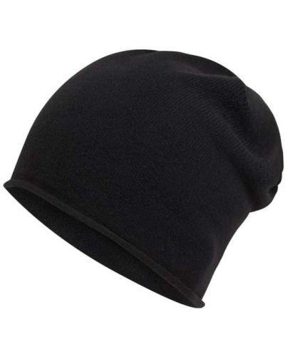 Czarna czapka beanie wełniana z haftem Karl Lagerfeld