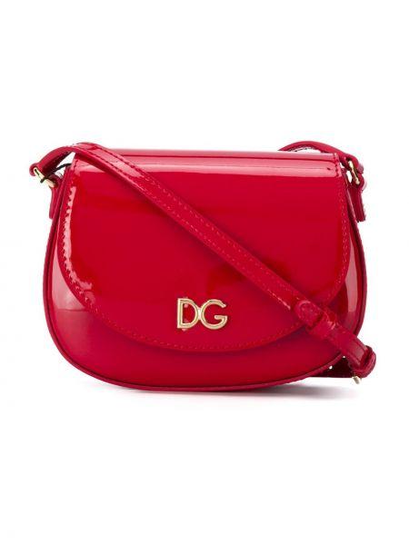 Золотистая красная кожаная сумка на плечо Dolce & Gabbana Kids
