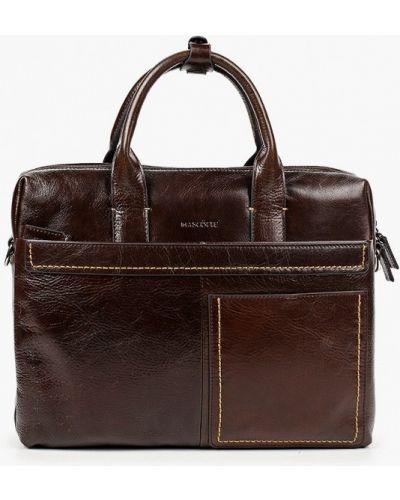 Коричневый кожаный портфель Mascotte