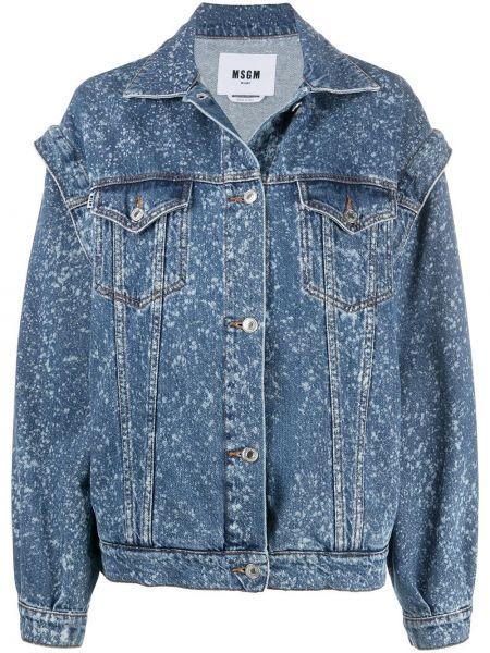 С рукавами синяя джинсовая куртка с нашивками Msgm