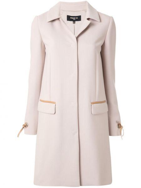 Коричневое шерстяное пальто классическое с капюшоном Paule Ka