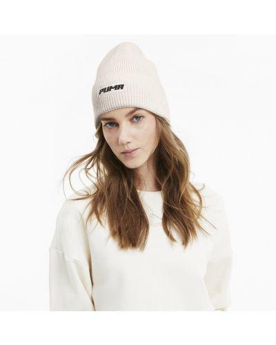 Белая классическая шапка бини с надписью в рубчик Puma