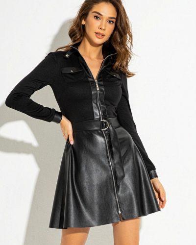 Кожаное черное платье Itelle