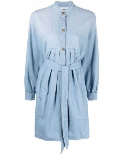Плиссированное синее платье макси с воротником Dondup