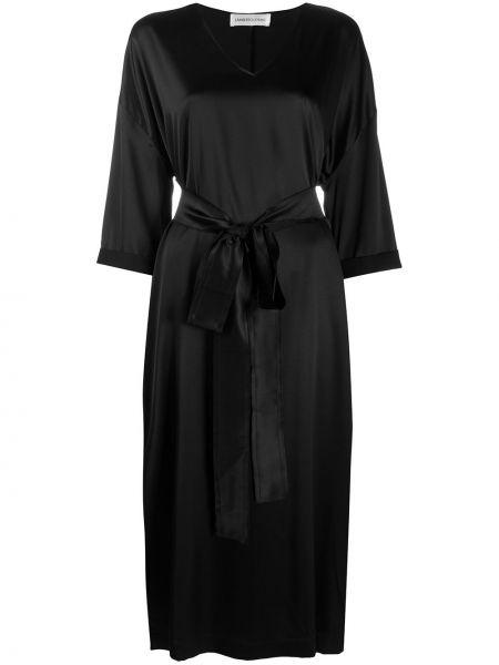 Шелковое черное платье миди с V-образным вырезом на молнии Lamberto Losani