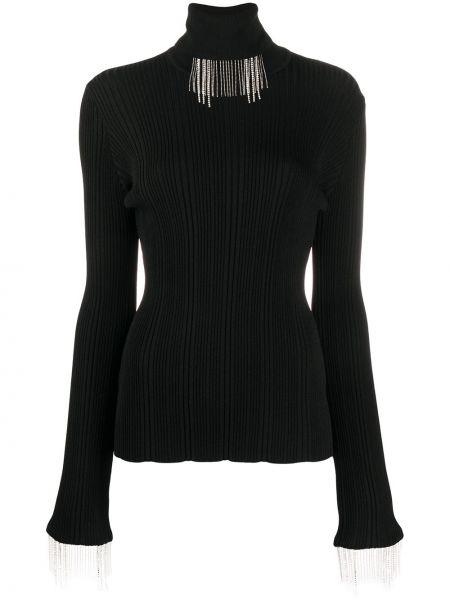 Черный свитер в рубчик с бахромой из вискозы •ellery•