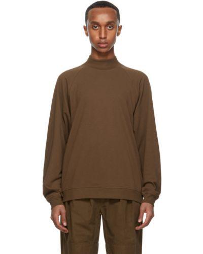 Brązowa bluza z długimi rękawami bawełniana Lemaire