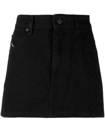 Черная с завышенной талией джинсовая юбка на пуговицах Diesel