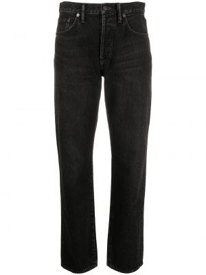 Прямые черные джинсы с нашивками Acne Studios