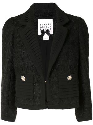 Черный пиджак твидовый на пуговицах Edward Achour Paris