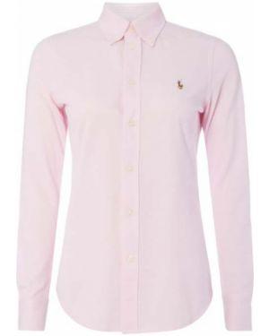 Różowa bluzka z haftem bawełniana Polo Ralph Lauren
