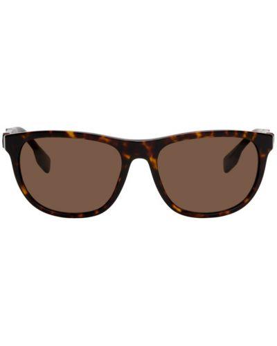Кожаные черные солнцезащитные очки квадратные Burberry