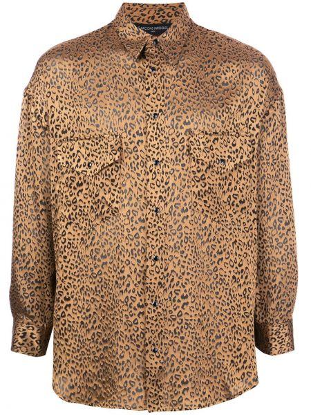 Brązowa koszula z długimi rękawami z wiskozy Garçons Infideles