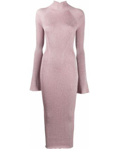 Платье в рубчик - розовое Lanvin