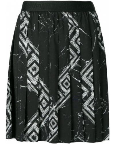 Плиссированная черная юбка мини Versace Collection