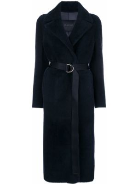 Синее кожаное длинное пальто с капюшоном Blancha