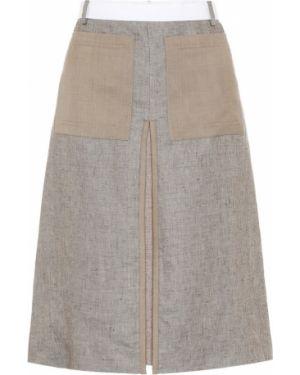 Льняная юбка миди в рубчик Burberry