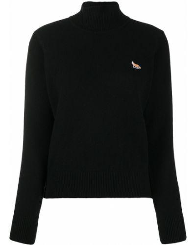 Шерстяной черный джемпер с вышивкой в рубчик Maison Kitsuné