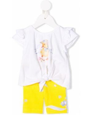 Żółty dres bawełniany krótki rękaw Lapin House