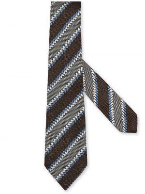 Krawat w paski - brązowy Ermenegildo Zegna
