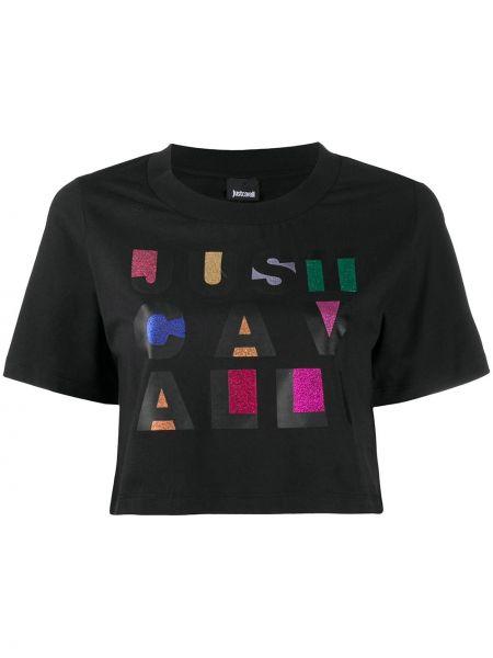 Короткая черная рубашка на шею круглая Just Cavalli