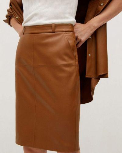 Кожаная коричневая юбка Mango
