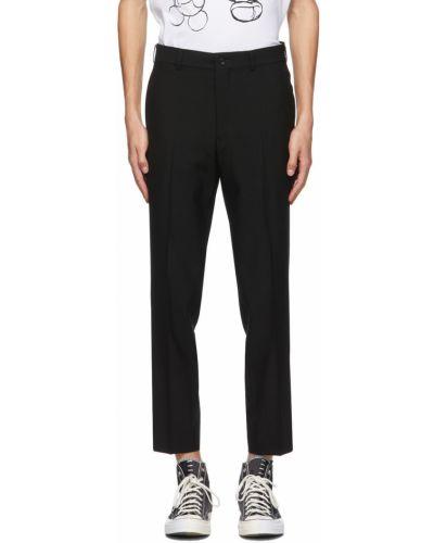 Czarne spodnie z paskiem wełniane Comme Des Garcons Homme Deux
