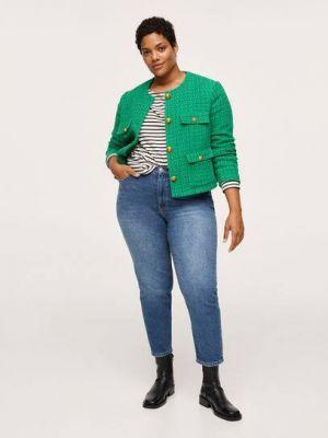 Зеленый пиджак длинный Mango