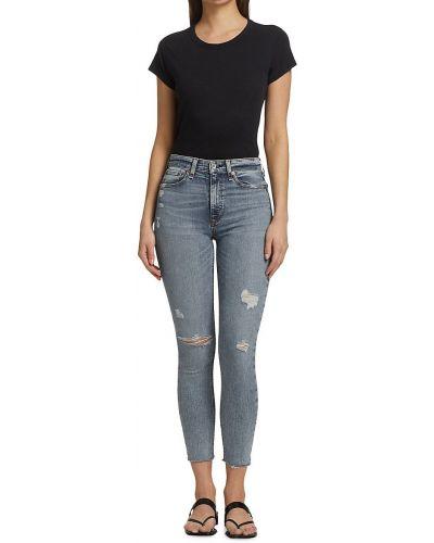 Niebieskie jeansy rurki bawełniane na co dzień Rag & Bone