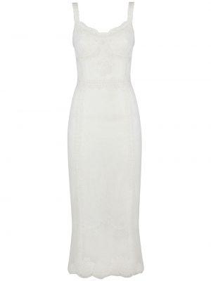 Шелковое кружевное белое платье миди Dolce & Gabbana