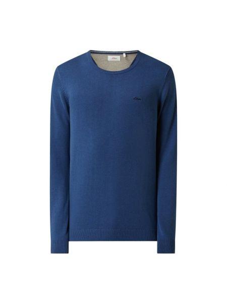 Sweter z dekoltem w serek - niebieski S.oliver Red Label