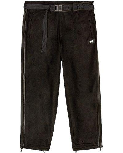 Czarny wełniany przycięte spodnie z kieszeniami z klamrą Y-3 Yohji Yamamoto