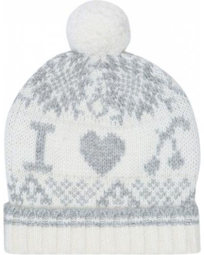 Ватная шерстяная белая шапка бини Bonpoint