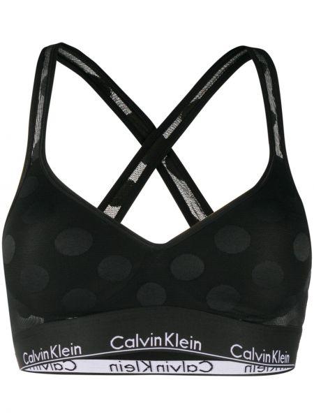 Нейлоновый черный бюстгальтер эластичный с декоративной отделкой Calvin Klein Underwear