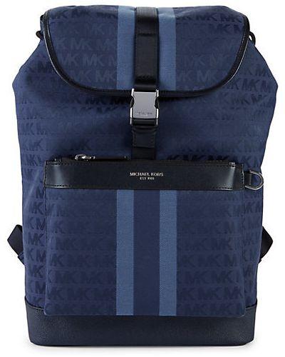 Кожаный рюкзак с карманами в полоску Michael Kors