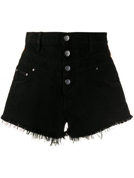 Хлопковые черные джинсовые шорты с карманами Amiri