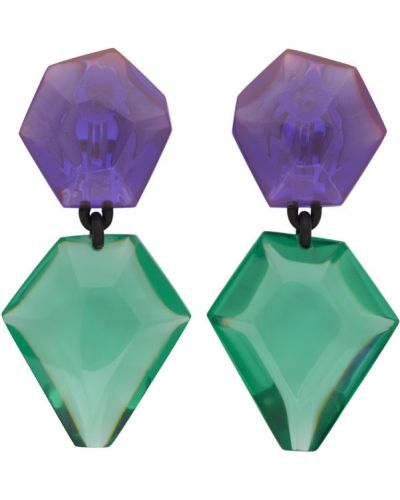Зеленые серьги-гвоздики прозрачные Monies