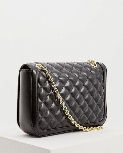 Кожаная сумка через плечо черная Love Moschino