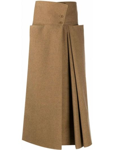 Brązowy pofałdowany z wysokim stanem spódnica midi włosy wielbłąda Lemaire