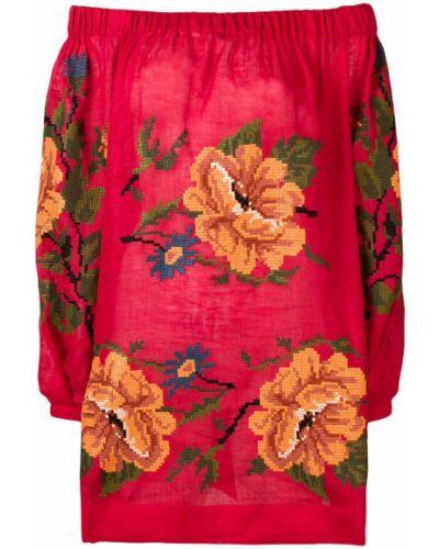 Блузка с открытыми плечами с длинным рукавом с цветочным принтом Vita Kin