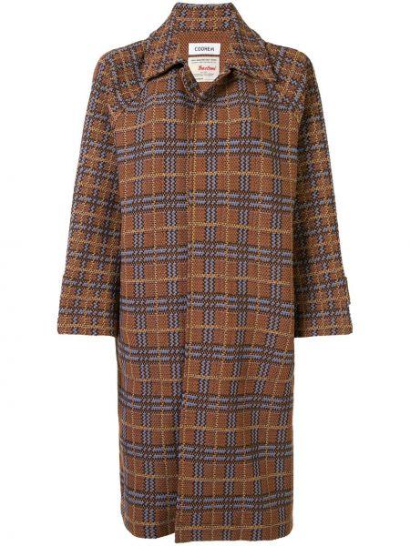 Коричневое пальто классическое в клетку твидовое Coohem