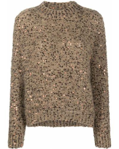 Коричневый длинный джемпер с вышивкой из мохера Brunello Cucinelli