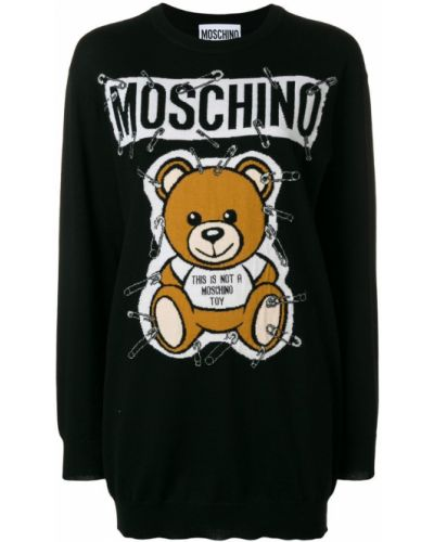 Вязаное платье платье-свитер черное Moschino